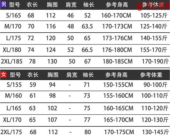 單層軟殼沖鋒衣(情侶款)尺碼表