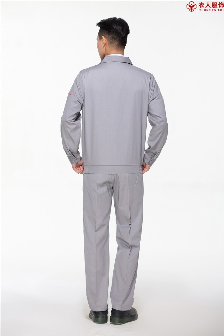 浅灰色车间工作服工地工作服背部