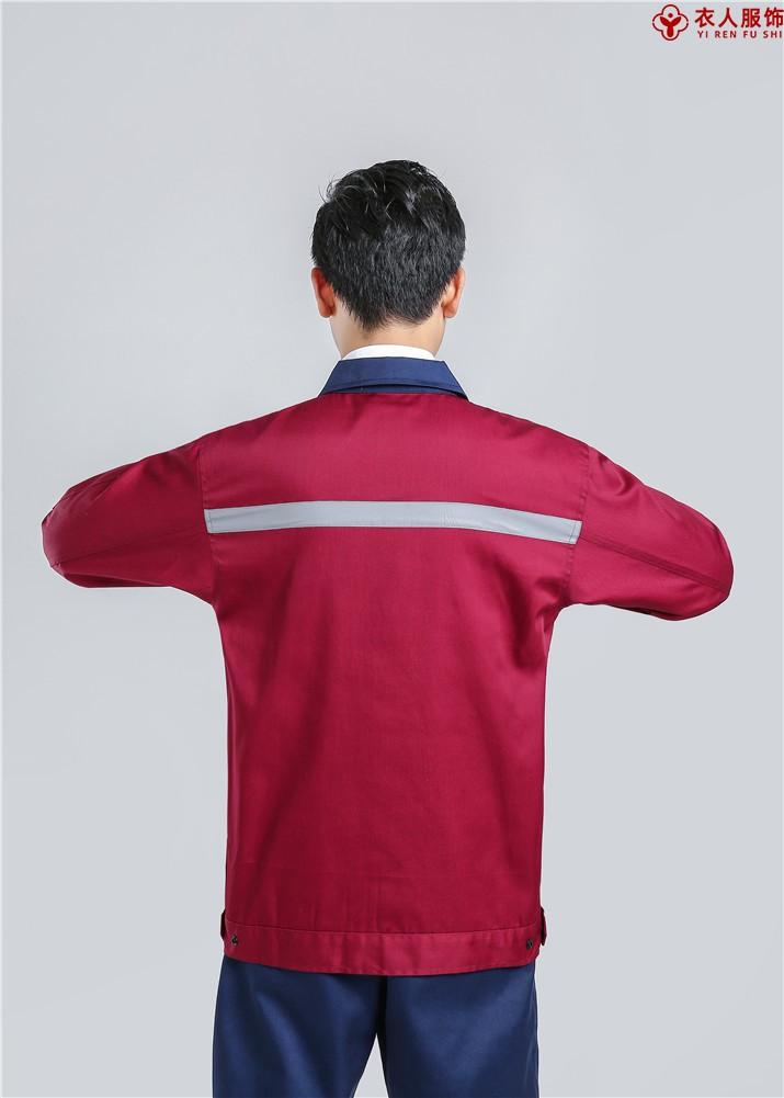 红配黑拉链款涤棉纱卡工作服背部