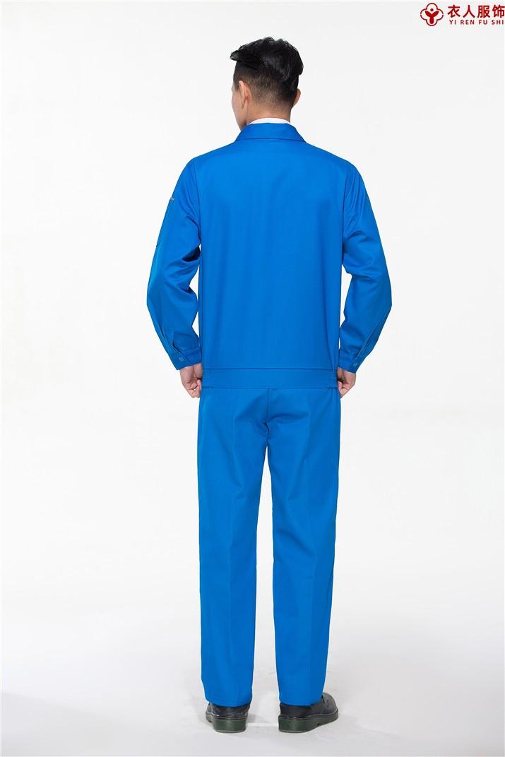 蓝色车间工作服工地工作服背部