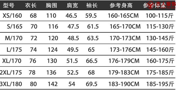 反光可拆卸沖鋒衣尺碼表