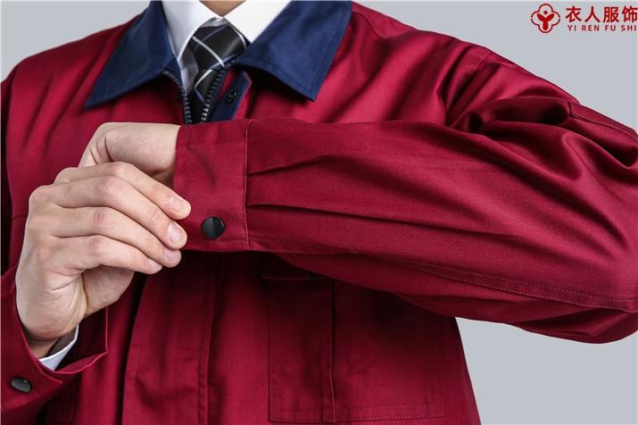 红配黑拉链款涤棉纱卡工作服袖口