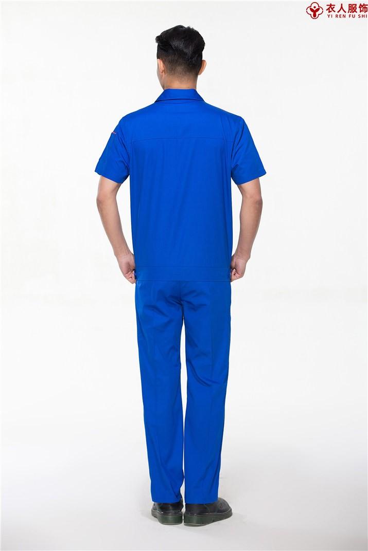 蓝色纯棉夏装短袖背面