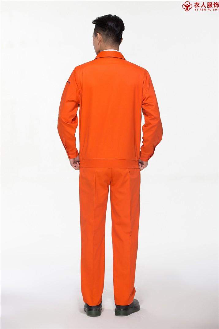 橙色车间工作服工地工作服背部